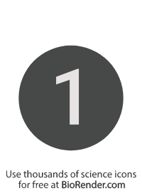 a round, alphanumeric label with the number 1