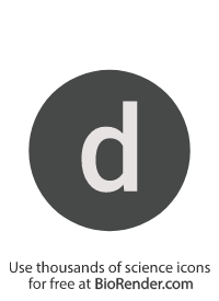 "a round, alphanumeric label with the lowercase alphabet ""d"""