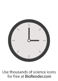an icon of a round clock face with hands dialled to 3 o clock position