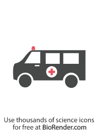 a minimal vector icon of an ambulance with ambulance light and cross symbol across the car body