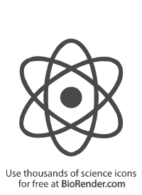 a minimal vector icon of an atom with round nucleus and three elliptical orbits