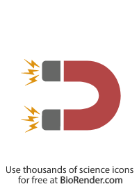 a minimal vector icon of a curved U-shaped magnet with electricity at its poles