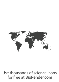 a vector icon of filled world map showing the silhouette of continents