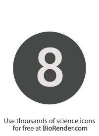 a round, alphanumeric label with the number 8
