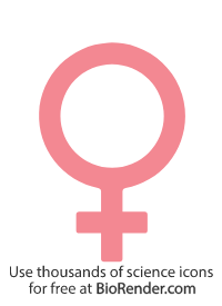 a female gender symbol consisting of a cross underneath a large circle