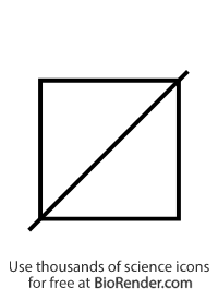 a pedigree symbol of an unfilled square with a diagonal dash representing a deceased male