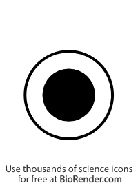a pedigree symbol of an unfilled outer circle and filled inner circle  representing a X-linked female carrier