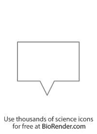 a rectangle-shaped speech bubble with tail in the center pointing down