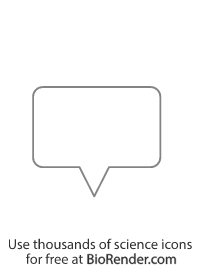 a rectangle-shaped speech bubble with rounded edges and tail in the center pointing down