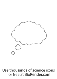 a cloud-shaped thought bubble with tail pointing bottom left
