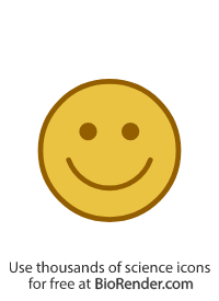 a round icon of a face with a happy expression