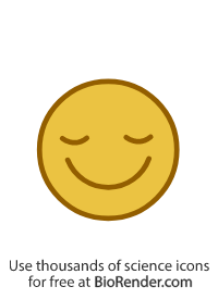 a round icon of a face with a content expression