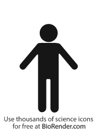 a standing person with arms out