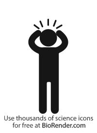 an anxious person holding their head